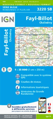 SB-3220SB Fayl-Billot, Chalindrey  | wandelkaart 1:25.000 9782758537441  IGN Serie Bleue (vernieuwd)  Wandelkaarten Bourgogne