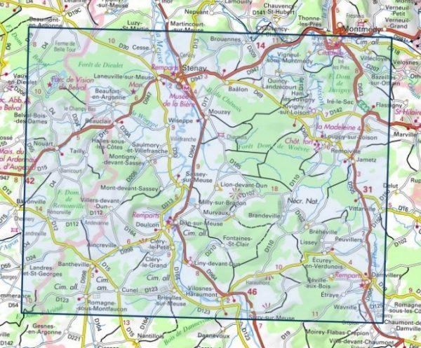 SB-3111SB Stenay / Sivry-sur-Meuse  | wandelkaart 1:25.000 9782758539698  IGN IGN 25 Champagne / Ardennes  Wandelkaarten Champagne, Franse Ardennen