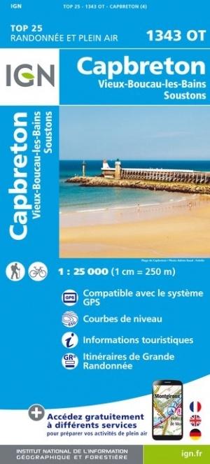 1343OT Capbreton, Lac de Soustons | wandelkaart 1:25.000 9782758542636  IGN TOP 25  Wandelkaarten Aquitaine, Bordeaux