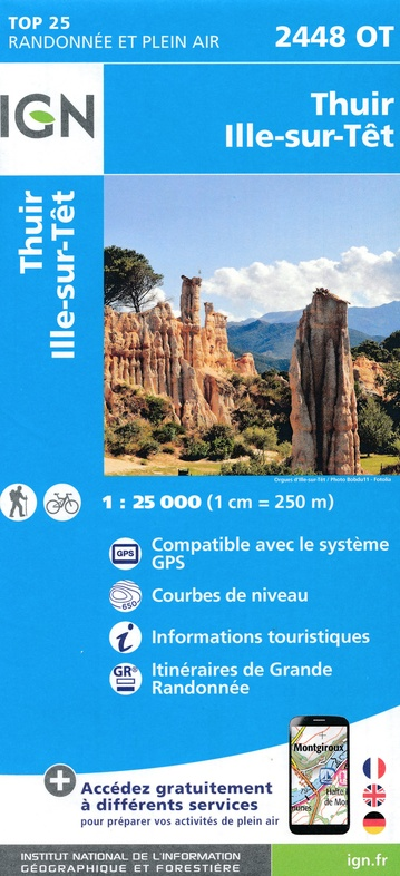 2448OT  Thuir, Ille-sur-Tet | wandelkaart 1:25.000 9782758542797  IGN IGN 25 Franse Pyreneeën  Wandelkaarten Franse Pyreneeën
