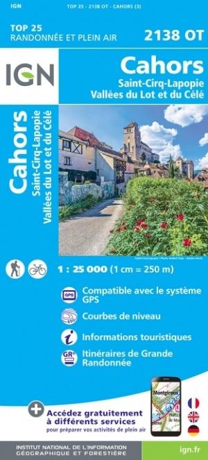 2138OT   Cahors, Lauzès, Cabrerets | wandelkaart 1:25.000 9782758542964  IGN TOP 25  Wandelkaarten Lot, Tarn, Toulouse