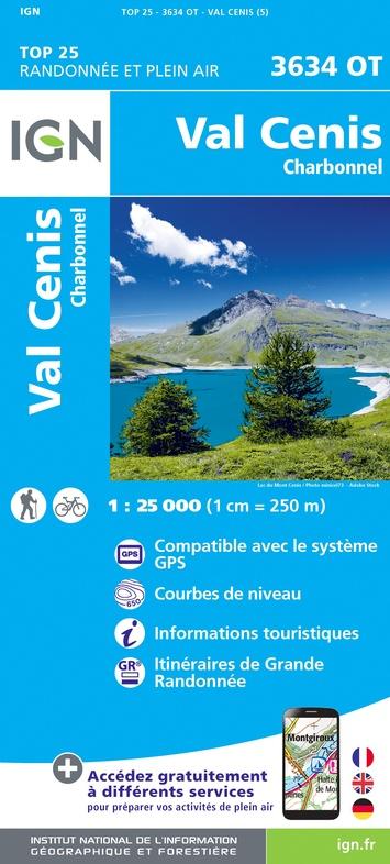 3634OT  Val Cenis, Charbonnel | wandelkaart 1:25.000 9782758543329  IGN TOP 25  Wandelkaarten Franse Alpen: noord