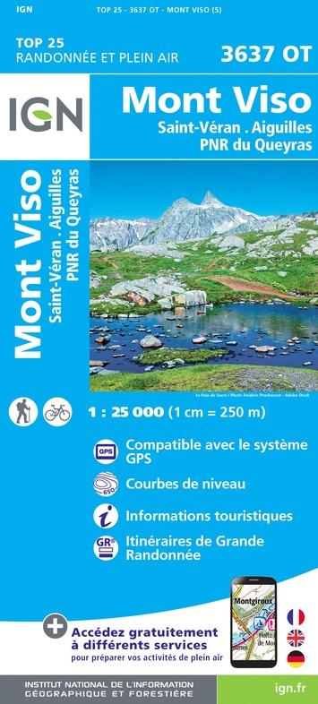 wandelkaart 3637OT Mont Viso (Monviso) 1:25.000 9782758543336  IGN IGN 25 Franse Alpen/ zuidhelft  Wandelkaarten Écrins, Queyras