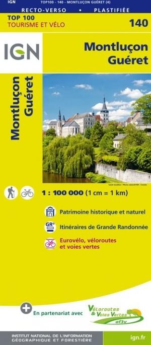 SV-140  Montluçon, Guéret | omgevingskaart / fietskaart 1:100.000 9782758543756  IGN Série Verte 1:100.000  Fietskaarten, Landkaarten en wegenkaarten Auvergne