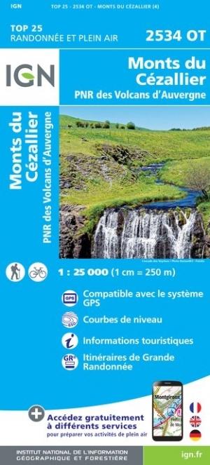 2534OT Monts du Cézallier | wandelkaart 1:25.000 9782758545378  IGN IGN 25 Auvergne  Wandelkaarten Auvergne