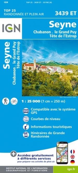 3439ET  Seyne, Col de Maure | wandelkaart 1:25.000 9782758545637  IGN IGN 25 Franse Alpen/ zuidhelft  Wandelkaarten Franse Alpen: zuid