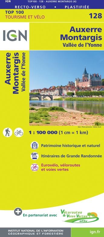 SV-128  Auxerre, Montargis | omgevingskaart / fietskaart 1:100.000 9782758547549  IGN Série Verte 1:100.000  Fietskaarten, Landkaarten en wegenkaarten Bourgogne