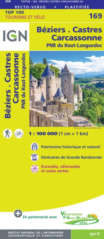 SV-169  Béziers, Castres | omgevingskaart / fietskaart 1:100.000 9782758547778  IGN Série Verte 1:100.000  Fietskaarten, Landkaarten en wegenkaarten Cevennen, Languedoc