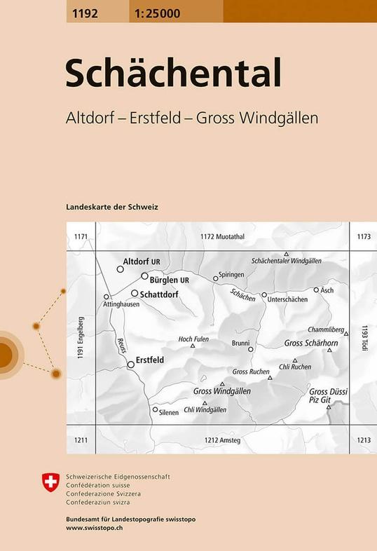 CH-1192  Schächental [2016] topografische wandelkaart 9783302011929  Bundesamt / Swisstopo LKS 1:25.000  Wandelkaarten Noordoost- en Centraal Zwitserland