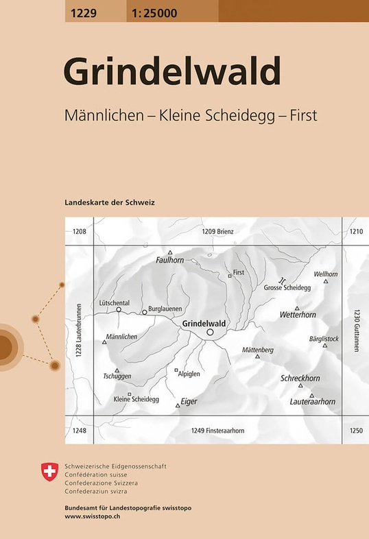 CH-1229  Grindelwald [2015] topografische wandelkaart 9783302012292  Bundesamt / Swisstopo LKS 1:25.000  Wandelkaarten Berner Oberland, Basel, Jura, Genève