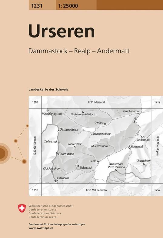 CH-1231  Urseren [2015] topografische wandelkaart 9783302012315  Bundesamt / Swisstopo LKS 1:25.000 Midden/Oost-Zw.  Wandelkaarten Midden- en Oost-Zwitserland