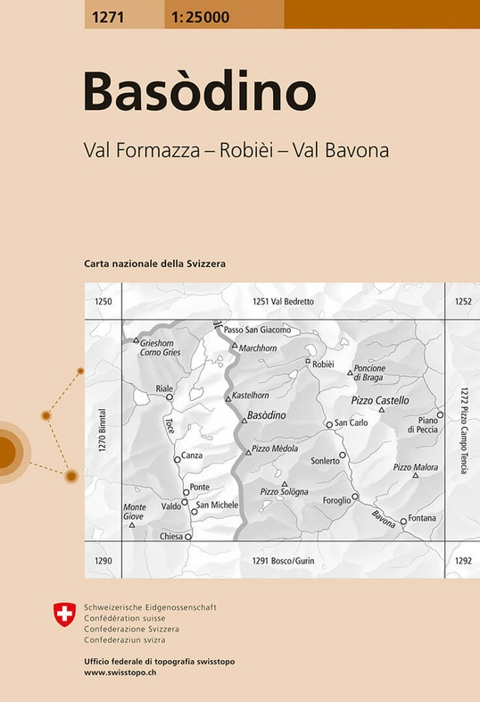CH-1271  Basodino [2020] topografische wandelkaart 9783302012711  Bundesamt / Swisstopo LKS 1:25.000  Wandelkaarten Graubünden, Tessin