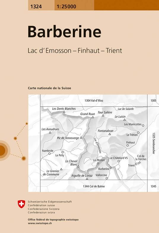 CH-1324  Barberine [2018] topografische wandelkaart 9783302013244  Bundesamt / Swisstopo LKS 1:25.000  Wandelkaarten Wallis