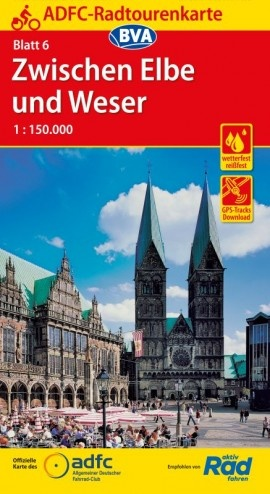 ADFC-06  Zwischen Elbe und Weser | fietskaart 1:150.000 9783870738259  ADFC / BVA Radtourenkarten 1:150.000  Fietskaarten Bremen, Osnabrück, Emsland