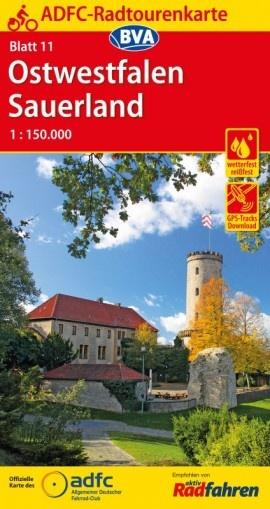 ADFC-11 Ostwestfalen/Sauerland | fietskaart 1:150.000 9783870738815  ADFC / BVA Radtourenkarten 1:150.000  Fietskaarten Sauerland