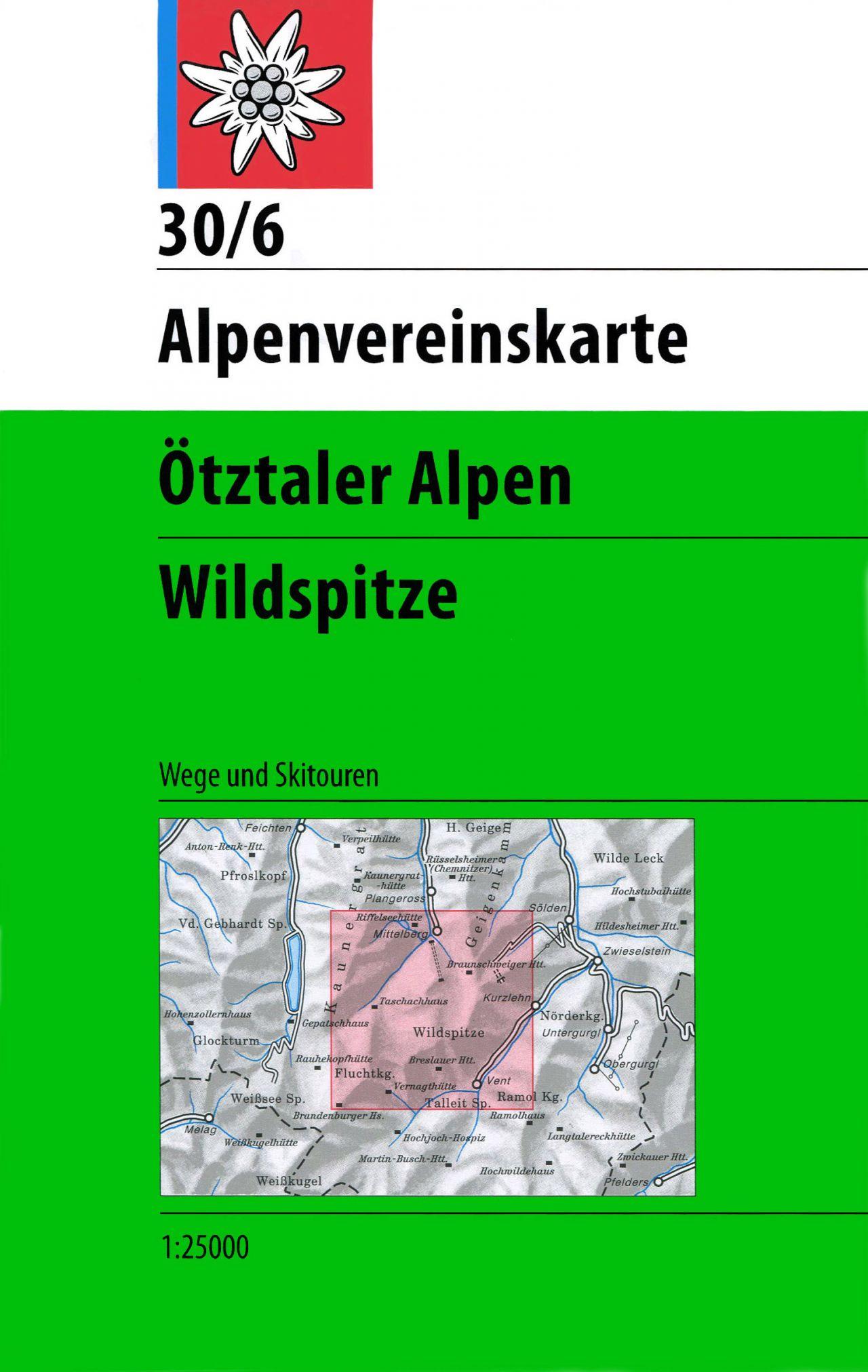 AV-30/6 Ötztaler Alpen/Wildspitze [2014] Alpenvereinskarte wandelkaart 9783928777452  AlpenVerein Alpenvereinskarten  Wandelkaarten Tirol & Vorarlberg