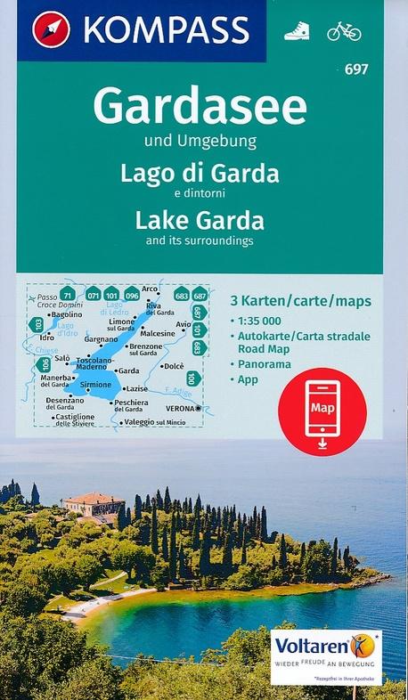 KP-697  Gardasee / Gardameer en omgeving 1:35.000 | Kompass wandelkaart 9783990443095  Kompass Wandelkaarten Kompass Italië  Wandelkaarten Gardameer