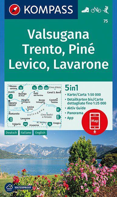 KP-75 Valsugana, Trento, Piné 1:50.000 | Kompass wandelkaart 9783990444382  Kompass Wandelkaarten Kompass Italië  Wandelkaarten Zuid-Tirol, Dolomieten