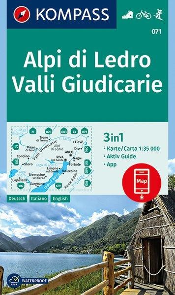 KP-071  Alpi di Ledro -  Valli Giudicarie | Kompass wandelkaart 9783990445020  Kompass Wandelkaarten Kompass Italië  Wandelkaarten Gardameer, Zuid-Tirol, Dolomieten