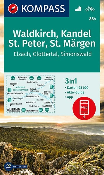 KP-884 Waldkirch, Kandel, St Peter | Kompass wandelkaart 1:25.000 9783990446003  Kompass Wandelkaarten Kompass Duitsland  Wandelkaarten Zwarte Woud
