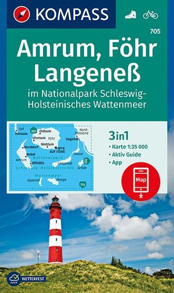 KP-705 Amrum/Föhr/Langeness | Kompass wandelkaart 1:35.000 9783990446102  Kompass Wandelkaarten Kompass Duitsland  Wandelkaarten Sleeswijk-Holstein