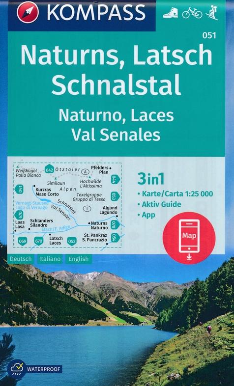 KP-051  Naturns, Latsch, Schnalstal | Kompass wandelkaart 1:25.000 9783990446195  Kompass Wandelkaarten Kompass Italië  Wandelkaarten Zuid-Tirol, Dolomieten