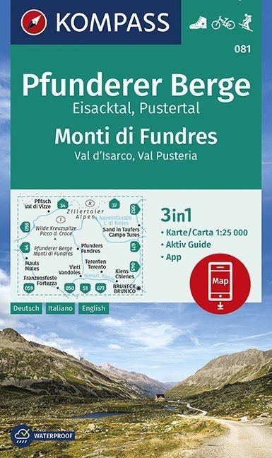 KP-081 Pfunderer Berge 1:25.000 | Kompass wandelkaart 1:25.000 9783990446249  Kompass Wandelkaarten Kompass Italië  Wandelkaarten Zuid-Tirol, Dolomieten