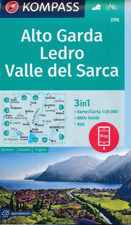 KP-096  Alto Garda, Val-di-Ledro | Kompass wandelkaart 1:25.000 9783990446263  Kompass Wandelkaarten Kompass Italië  Wandelkaarten Gardameer