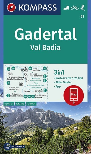 KP-51 Gadertal, Val Badia 1:25.000 | Kompass wandelkaart 9783990446287  Kompass Wandelkaarten Kompass Italië  Wandelkaarten Zuid-Tirol, Dolomieten