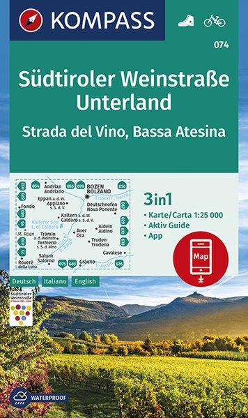 KP-074 Südtiroler Weinstrasse Unterland | Kompass wandelkaart 1:25.000 9783990446591  Kompass Wandelkaarten Kompass Italië  Wandelkaarten, Wijnreisgidsen Zuid-Tirol, Dolomieten
