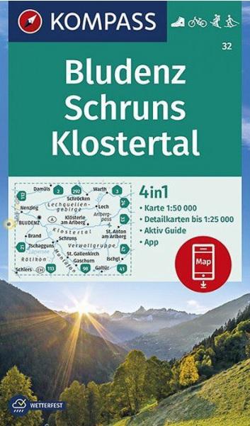 KP-32 Bludenz-Schruns-Klostertal | Kompass wandelkaart 9783990446607  Kompass Wandelkaarten Kompass Oostenrijk  Wandelkaarten Tirol & Vorarlberg