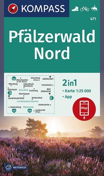 KP-471  Pfalz Naturpark Pfälzerwald Nord   Kompass wandelkaart 1:25.000 9783990446898  Kompass Wandelkaarten Kompass Duitsland  Wandelkaarten Pfalz, Deutsche Weinstrasse, Rheinhessen