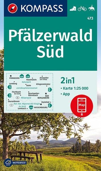 KP-473  Pfalz Naturpark Pfälzerwald Süd   Kompass wandelkaart 1:25.000 9783990446911  Kompass Wandelkaarten Kompass Duitsland  Wandelkaarten Pfalz, Deutsche Weinstrasse, Rheinhessen
