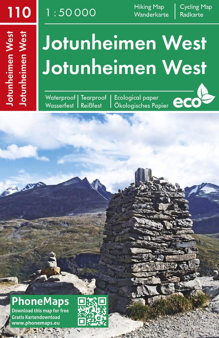 F&B-110 Jotunheimen West 1:50.000 9788074454264  Freytag & Berndt Phone Maps  Wandelkaarten Noorwegen boven de Sognefjord
