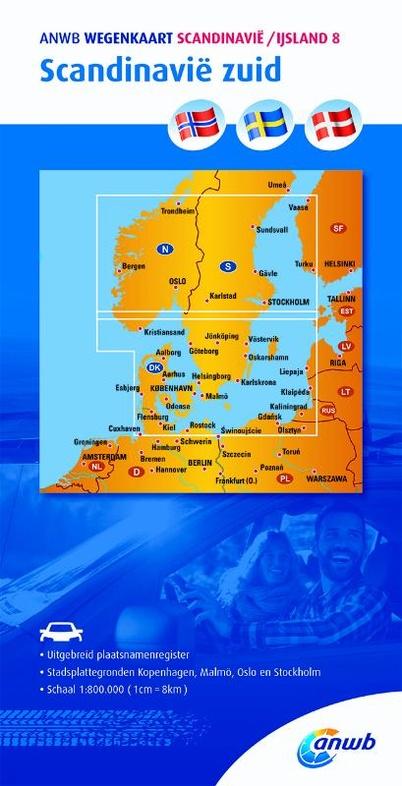 Zuid-Scandinavië 1:800.000 9789018042844  ANWB Wegenkaarten  Landkaarten en wegenkaarten Scandinavië & de Baltische Staten