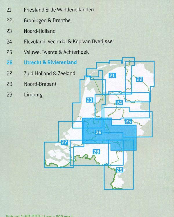 FKP-26  Utrecht & Rivierenland fietskaart 1:90.000 9789028730380  Falk Fietsknooppuntenkaart  Fietskaarten Nijmegen en het Rivierengebied, Utrecht