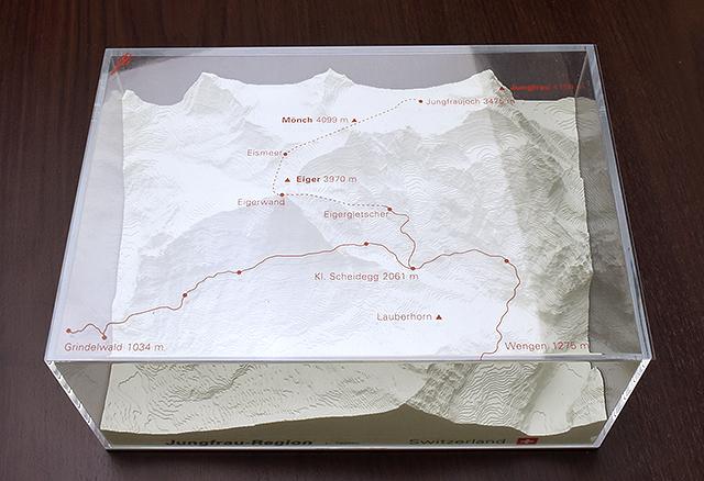 Jungfrau - reliëfmaquette op schaal 1:75.000 JUNGFRAU  Reliorama   Wandkaarten Berner Oberland, Basel, Jura, Genève
