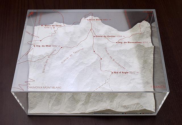 Mont Blanc - reliëfmaquette op schaal 1:75.000 MONTBLANC  Reliorama   Wandkaarten Franse Alpen: noord
