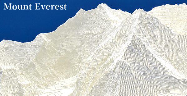 Mount Everest - reliëfmaquette op schaal 1:75.000 MOUNTEVEREST  Reliorama   Wandkaarten Nepal