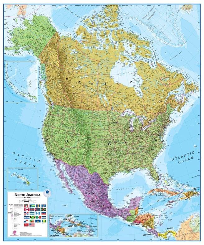 Noord Amerika plano 100 x120 cm 9781904892007  MAPS International   Wandkaarten Noord-Amerika