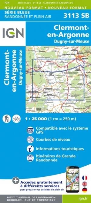SB-3113SB Clermont-en-Argonne, Dugny-sur-Meuse  | wandelkaart 1:25.000 9782758541714  IGN Serie Bleue (vernieuwd)  Wandelkaarten Champagne, Franse Ardennen