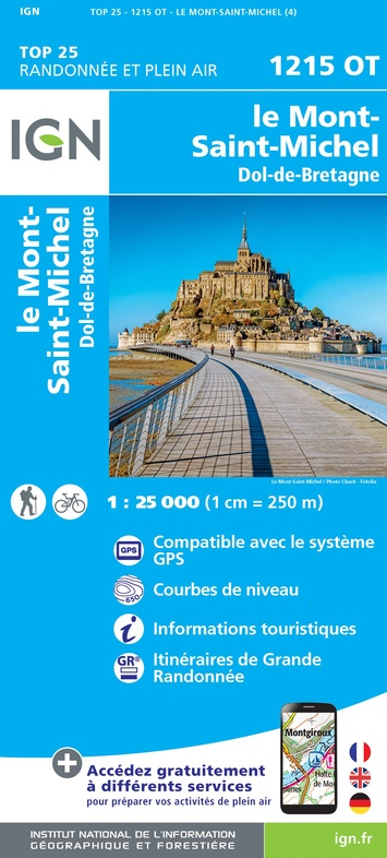 1215OT  Mont-St-Michel, Dol-de-Bretagne | wandelkaart 1:25.000 9782758545187  IGN IGN 25 Normandië  Wandelkaarten Bretagne, Normandië