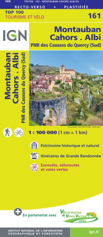 SV-161  Cahors, Montauban, Albi | omgevingskaart / fietskaart 1:100.000 9782758547716  IGN Série Verte 1:100.000  Fietskaarten, Landkaarten en wegenkaarten Lot, Tarn, Toulouse
