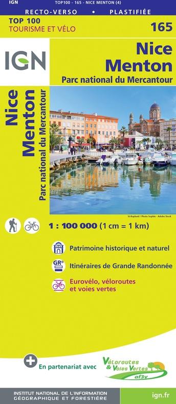 SV-165  Nice, Draguignan | omgevingskaart / fietskaart 1:100.000 9782758547747  IGN Série Verte 1:100.000  Fietskaarten, Landkaarten en wegenkaarten Côte d'Azur