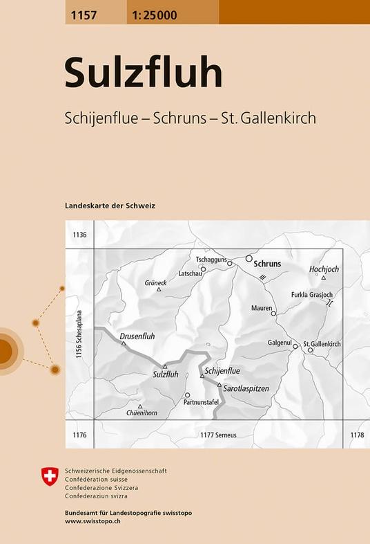 CH-1157  Sulzfluh  [2016] topografische wandelkaart 9783302011578  Bundesamt / Swisstopo LKS 1:25.000  Wandelkaarten Graubünden, Tessin