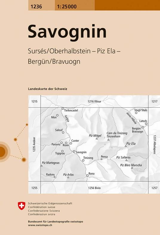 CH-1236  Savognin [2017] topografische wandelkaart 9783302012360  Bundesamt / Swisstopo LKS 1:25.000  Wandelkaarten Graubünden, Tessin