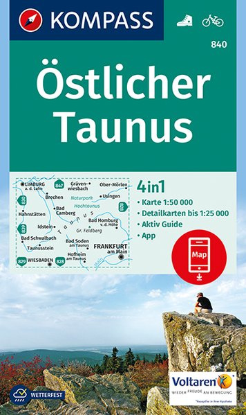 KP-840 Östlicher Taunus | Kompass 9783990443712  Kompass Wandelkaarten Kompass Duitsland  Wandelkaarten Frankfurt, Taunus, Rheingau