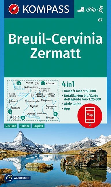 KP-87 Breuil/Cervinia/Zermatt 1:50.000 | Kompass 9783990444252  Kompass Wandelkaarten Kompass Italië  Wandelkaarten Aosta, Gran Paradiso, Wallis