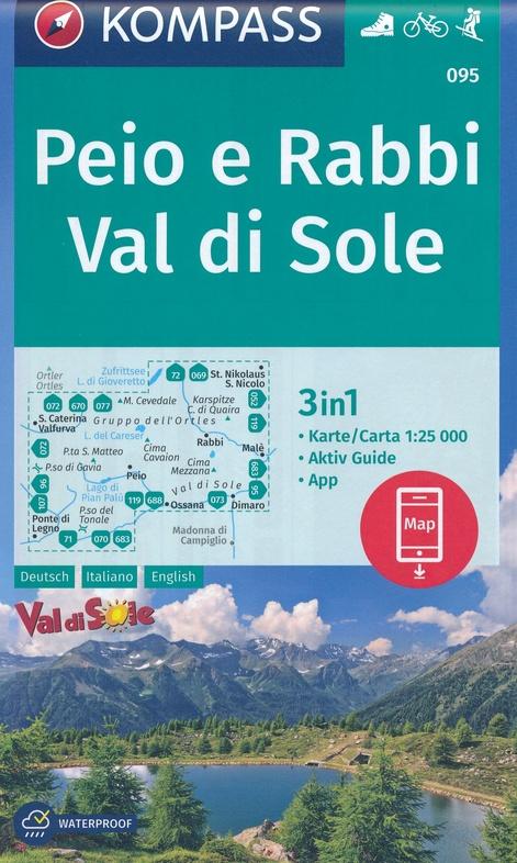 KP-095  Peio e Rabbi, Val di Sole | Kompass wandelkaart 9783990446256  Kompass Wandelkaarten Kompass Italië  Wandelkaarten Zuid-Tirol, Dolomieten
