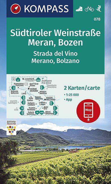 KP-078 Südtiroler Weinstrasse Merano Bolzano | Kompass wandelkaart 1:25.000 9783990447024  Kompass Wandelkaarten Kompass Italië  Wandelkaarten, Wijnreisgidsen Zuid-Tirol, Dolomieten